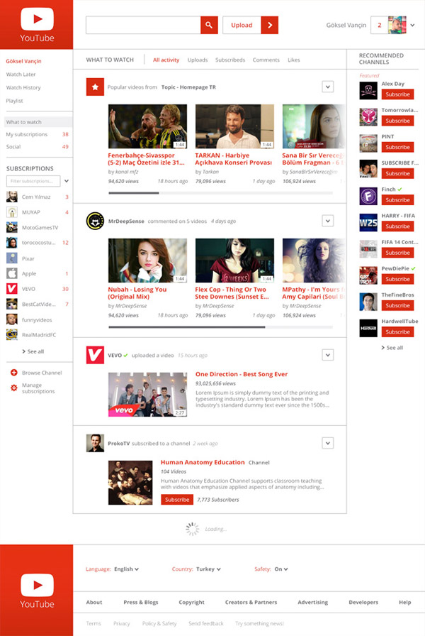 YouTube Web Design by Göksel Vançin