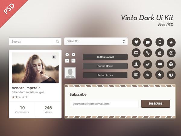 Vinta Dark Ui Kit Free Psd