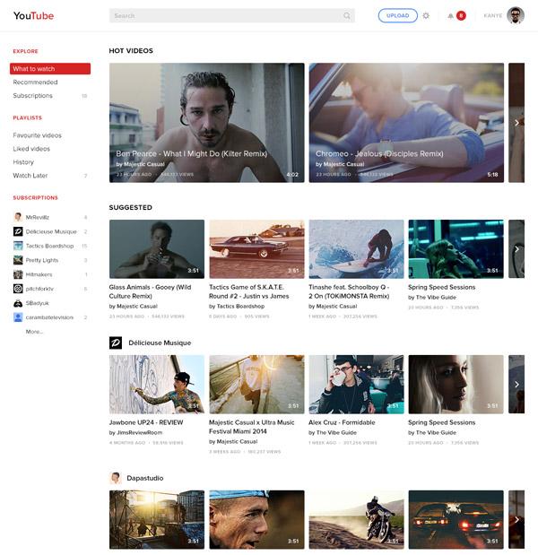 YouTube Redesign Concept by Dmitry Samarenkov