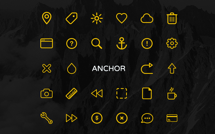 yellow line stroked anchor iconset