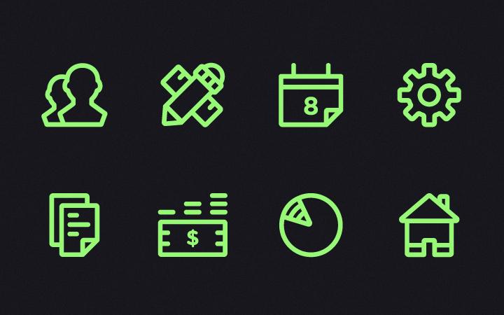 light green line icons menu settings