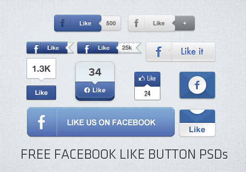 25 Free Facebook Like Button PSD Designs