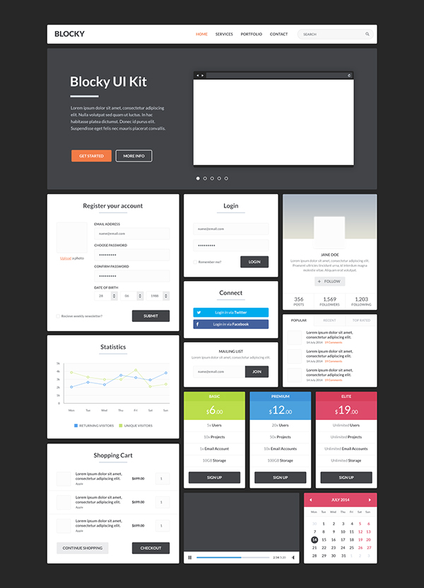 free ui kits free photoshop psd web elements for designers idevie