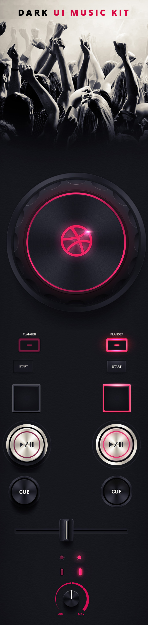 Dark UI Music kit
