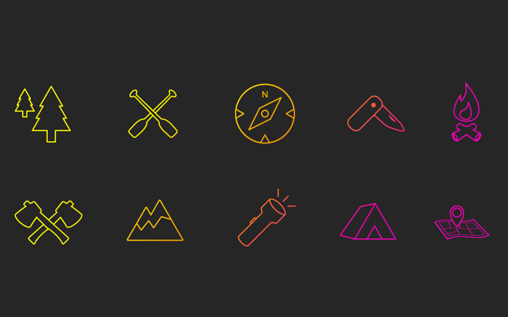 geocaching icons bright set lines