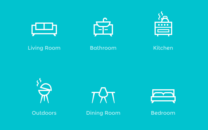 home furniture line icons pack