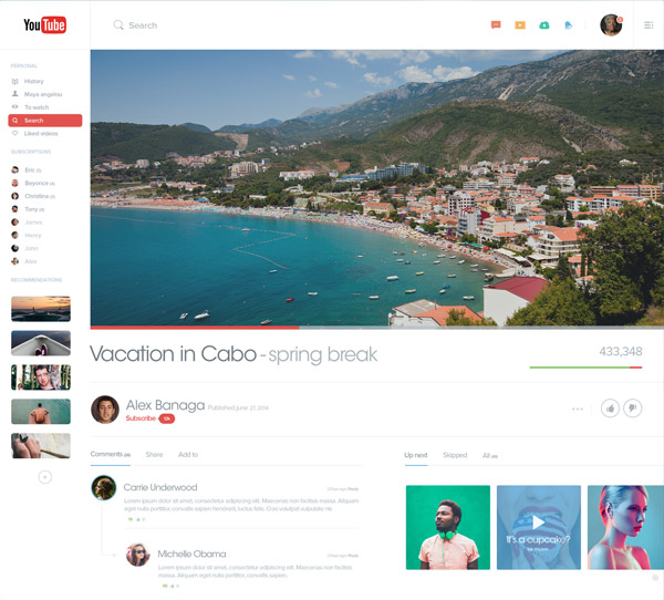 YouTube Redesign by Alex Banaga