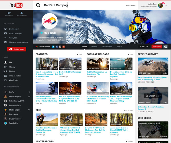 YouTube Redesign by Adrien Thomas