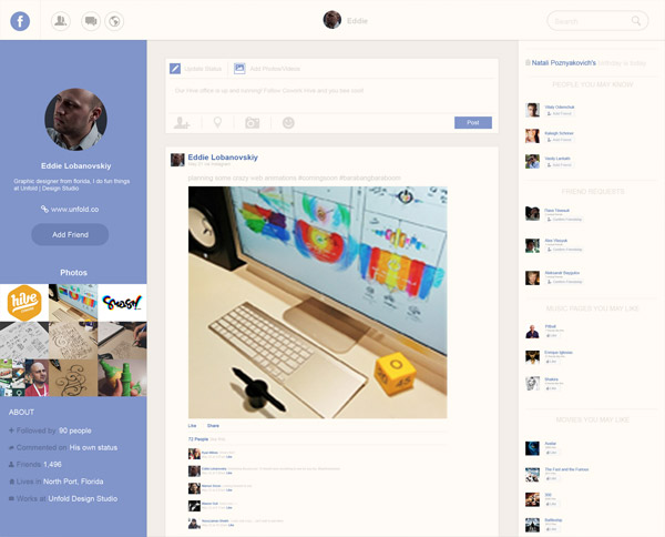 Facebook Profile Redesign by Arslan Ali