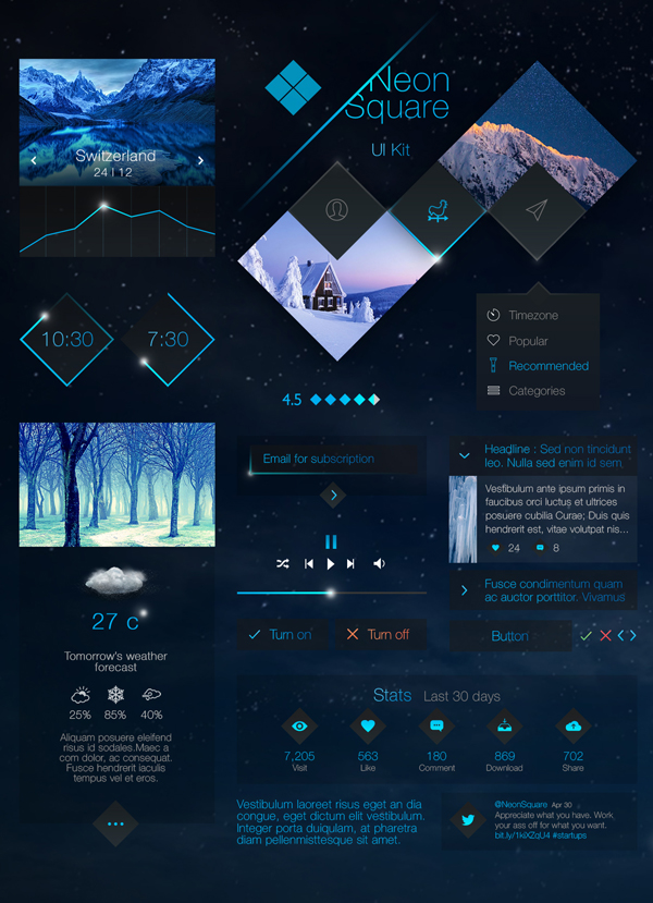 Neon Square UI Kit