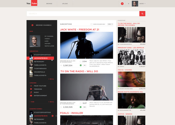 YouTube Redesign by Alexandr Brinza