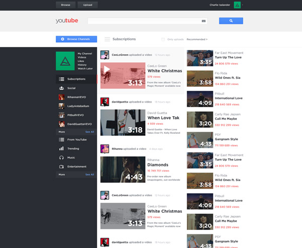 YouTube Redesign by Charlie Isslander