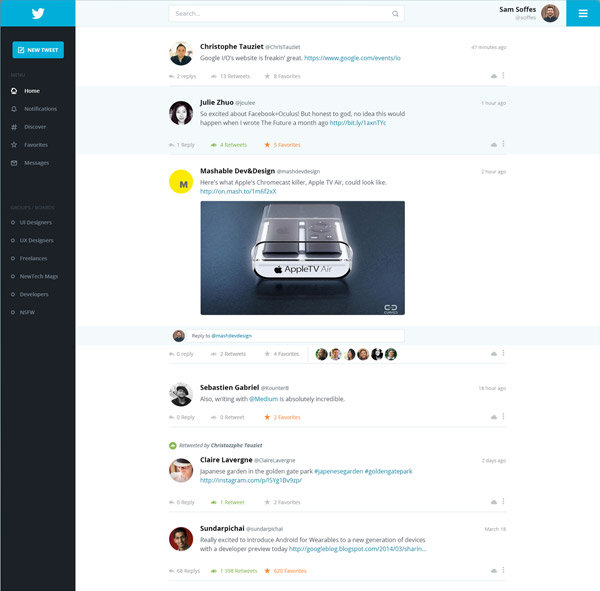 Twitter Redesign by Adrien Thomas