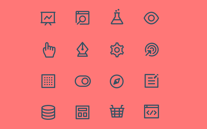 dark line icons octopus iconography set