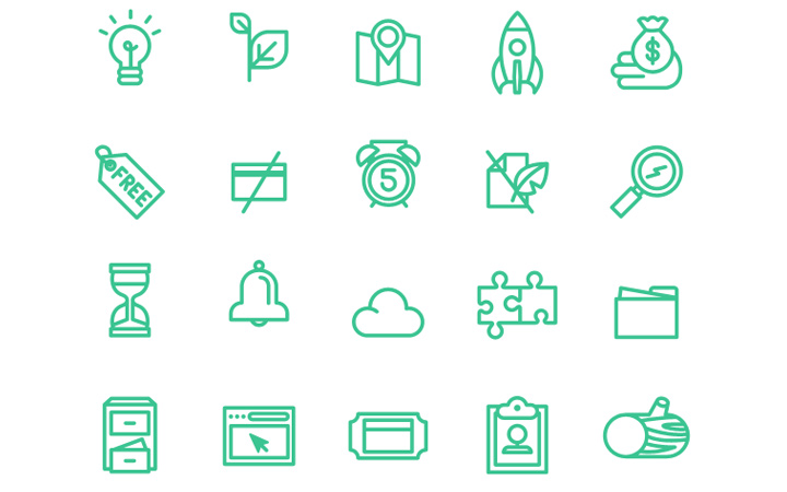 money credit green line icons