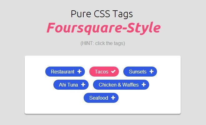 pure css tags foursquare ui