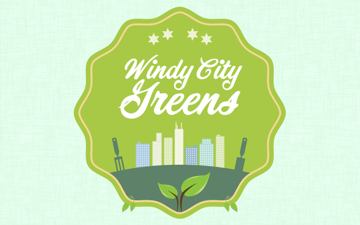 windy city greens badge design logo