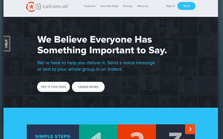 call em all website flat design
