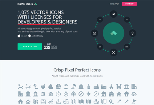 Icons Solid with Colorful Rectangular CTA Buttons