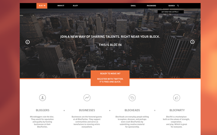 flat orange website layout mockup design