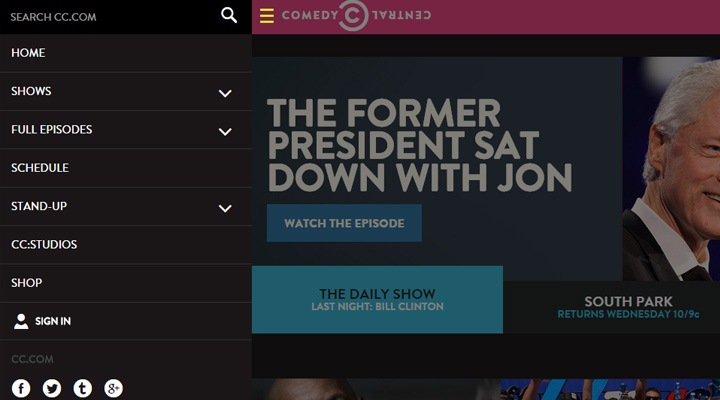 comedy-central-navigation-website