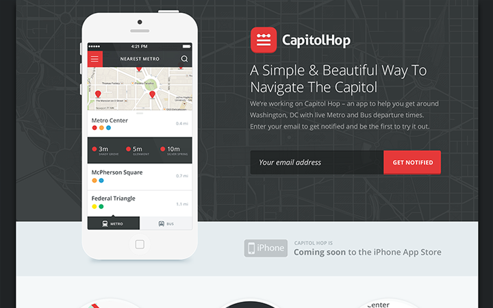 capitol hop website layout landing page app