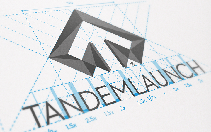 tandem launch geometry logo design shapes