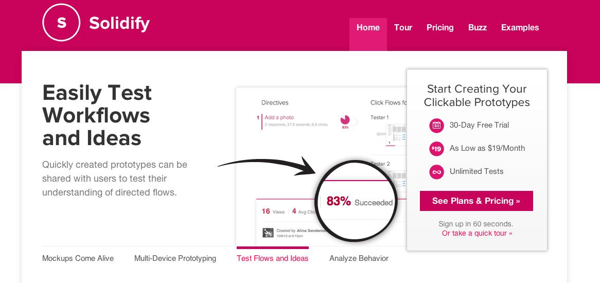 Solidify allows you to create clickable mockups