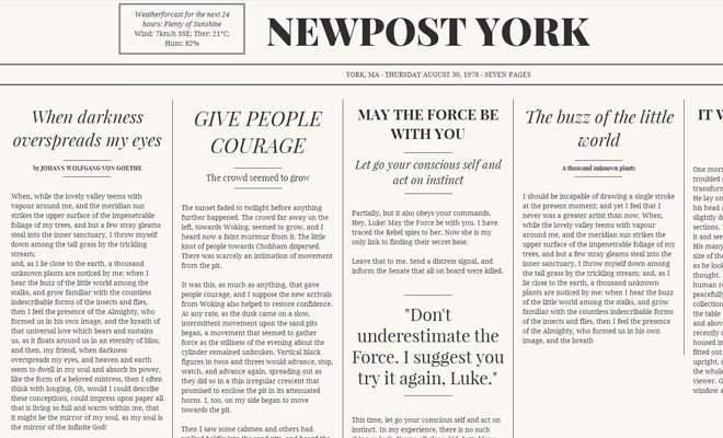 html5 css3 newspaper content layout design