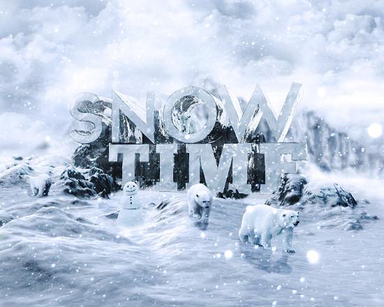snowy 3d text tutorial psdvault final 550x440 Create 3D Snow Text Effect Using Cinema4D and Photoshop