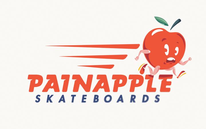 painapple skateboards logo lettering design
