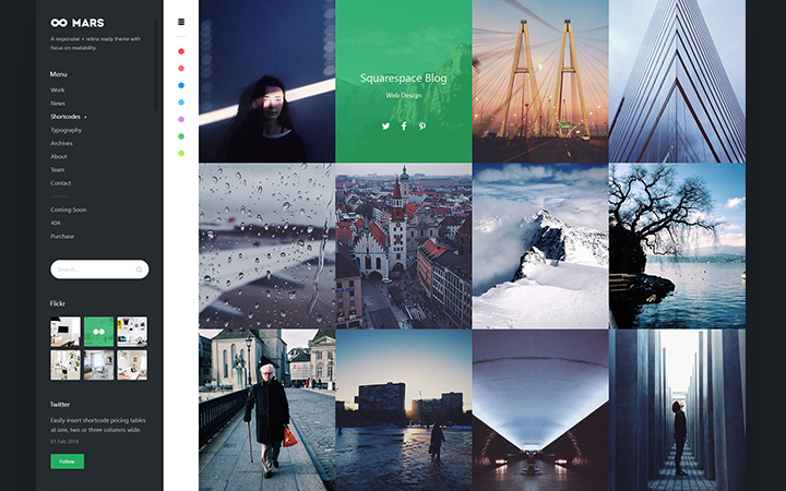 black portfolio mars layout inspiration
