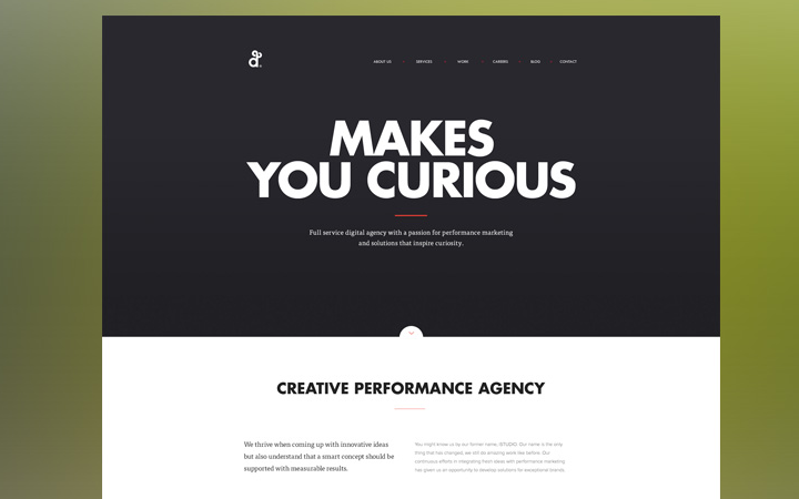 dark white contrast agency website flat design