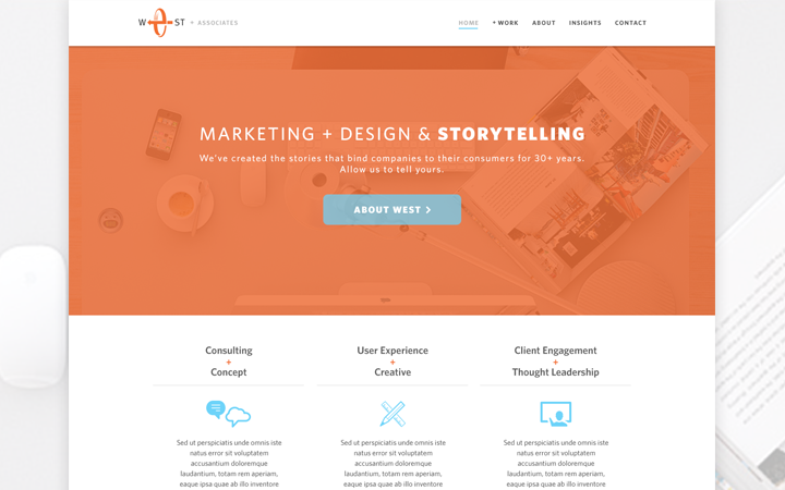 flat orange marketing website layout mockup