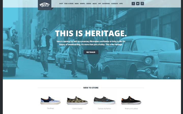 vans redesign homepage mockup layout inspiration