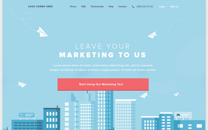 simple landing page marketing blue flat