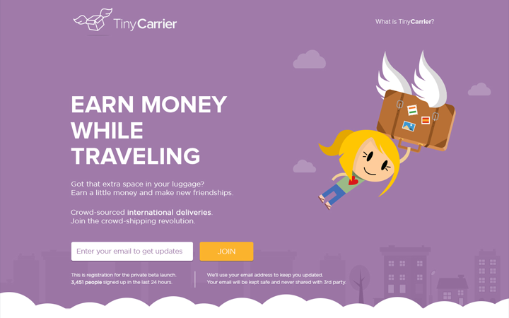 tiny carrier landing page purple flat mockup