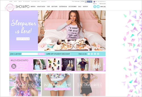 Girlish Website Showpo with Background Triangles