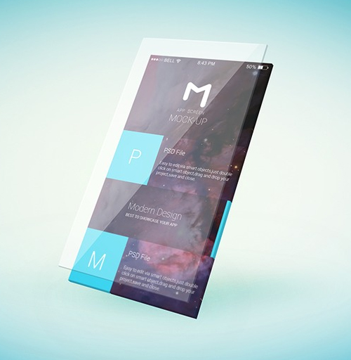 3D App Screen Mockup PSD
