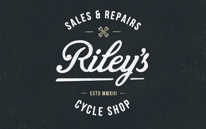 rileys cycles logo branding design