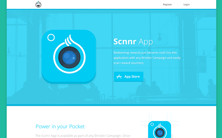 scnnr app homepage landing website layout
