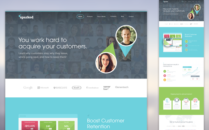 sparked flat homepage website layout design