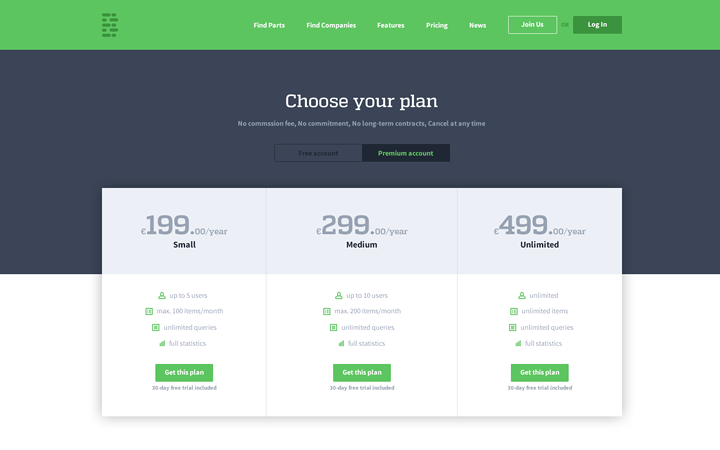 flat details landing page pricing table