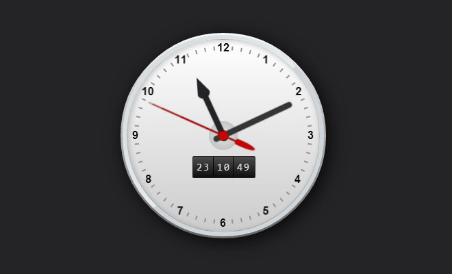 css3 open source working clock graphic