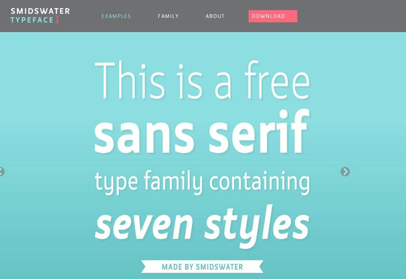 Smidswater font family with 7 styles
