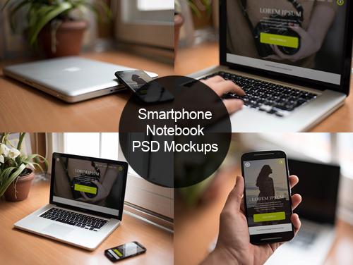 7 FREE Smartphone & Notebook PSD Mockups