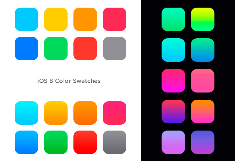 Ios 8 color swatches and gradients