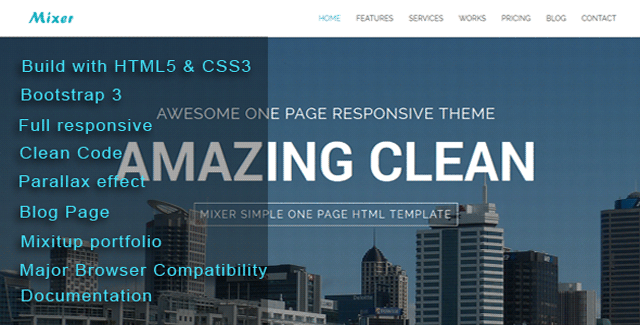 Mixer - Responsive One Page Template