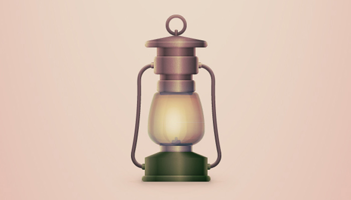vintage camping lantern icon