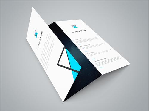 Freebie - Tri Fold Brochure PSD Mockup